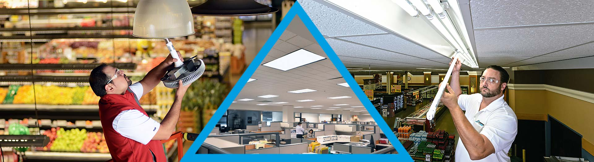 Lighting by LED installers retrofitting fluorescent fixtures with LED lights